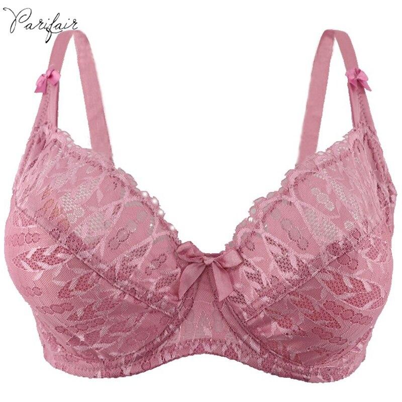 7d28119b5 PariFairy Unlined Sutiã Sexy Roupa Interior das Mulheres Plus Size Empurrar  Para Cima do Peito Maior