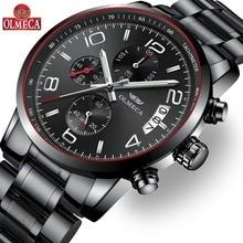 OLMECA Top Brand Luxury Quartz Watch Relogio Masculino Fashion 30M Waterproof Men Watches Wrist Watch Stainless Steel Band