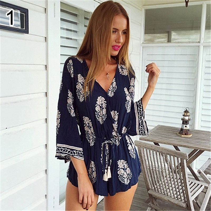 Womens Long Sleeve Sexy Deep V-neck Floral Printed Casual Beach Rompers Jumpsuits for Dai