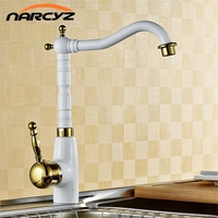 White Paint With Gold Polish Single Handle Brass Crane Kitchen Faucet Wholesale And Retail W8101