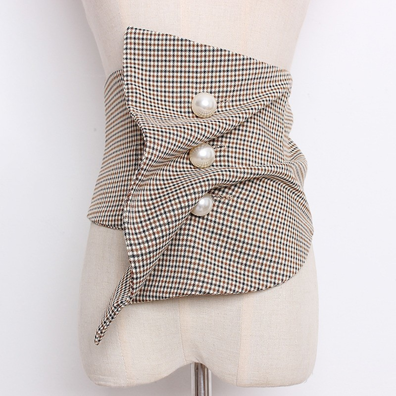 LANMREM 2019 Elastic Wide Girdle Pearl Button Folds Irregular Cummerbunds New Fashion All-match Female's Cloth Accessories YG413