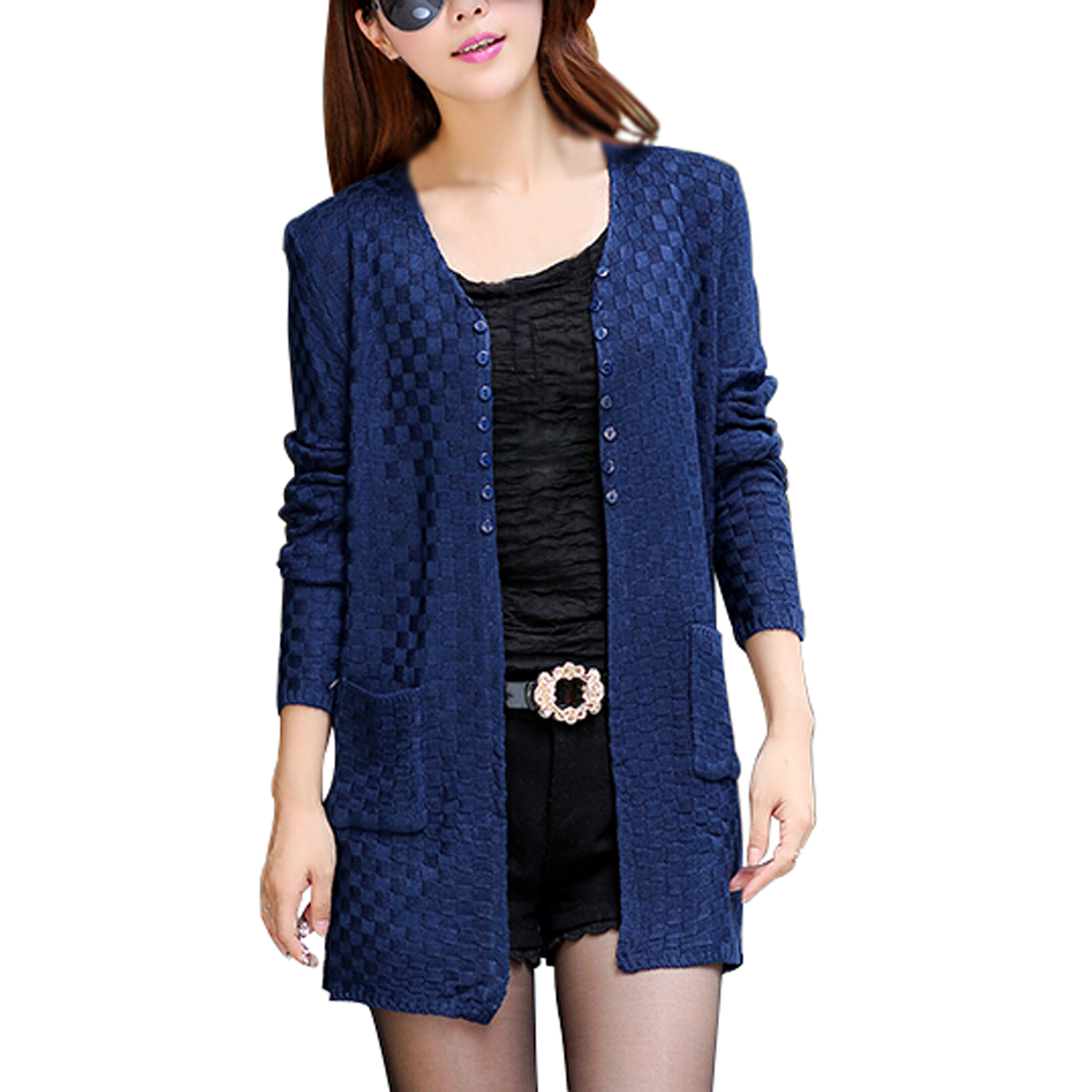 Buy Cardigan Blue And Get Free Shipping On Mooi Printing Premium Sweater Top