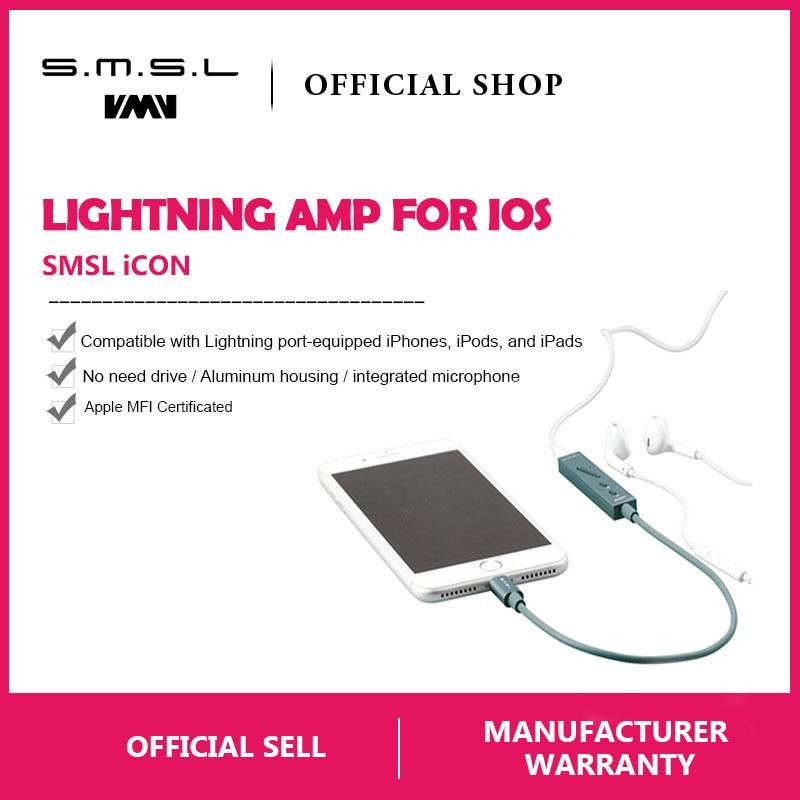 SMSL ICÔNE SALUT-FI Audio Décodeur Portable Casque Amplificateur DAC Entrée Foudre Connecteur Microphone Intégré pour iPhone IOS