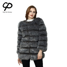 CP Faux Fur Factory Fox Faux Fur Coat Women Winter Warm Long Sleeve Artifical Fur Coat Overcoat Female Faux Fur Jacket CP12(China)
