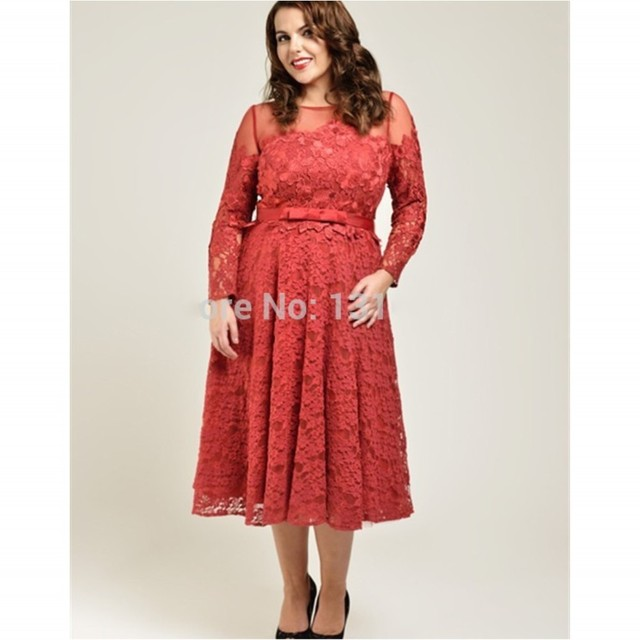 Coral Mother of the Bride Dresses Tea Length