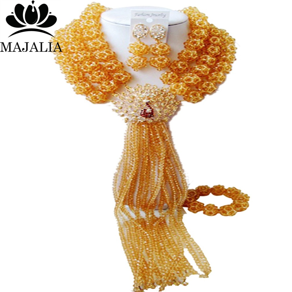 Nigerian wedding African beads jewelry set crystal Gold Champagne necklace bracelet earrings A well-known brand Majalia  Y-36