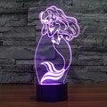 Criativa Conto Princesa Sereia 7 Mudando de Cor LEVOU Noite Bebê luz 3D Decoração Do Quarto Da Lâmpada de Iluminação para o Brinquedo Meninas Presente IY803322