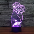 creative Tale Mermaid Princess 7 Color Changing LED Baby Night Light 3D Lamp Decor Bedroom Lighting for Girls Toy Gift IY803322