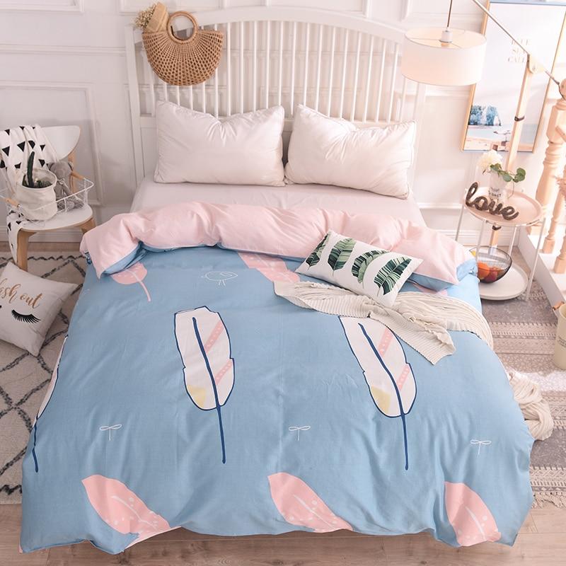 Accueil Textile plumes colorées 100% coton ensemble de literie fille adolescent adulte rose bleu housse de couette taie d'oreiller drap de lit literie 4 pièces