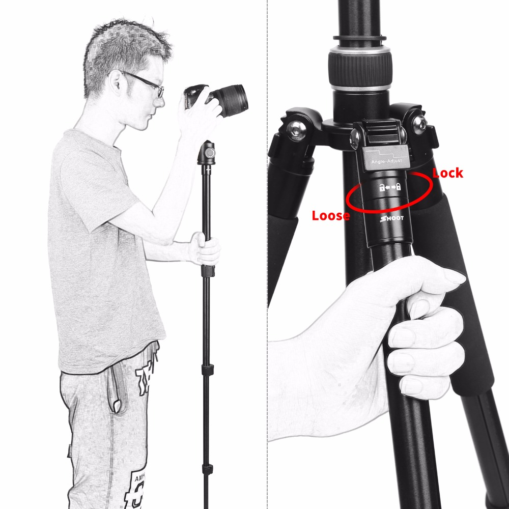 Image 4 - SHOOT Professional Portable Travel Camera Tripod Aluminum Alloy 4 Sections Tripod Stand for Canon Nikon SLR DSLR Digital Camera-in Tripods from Consumer Electronics