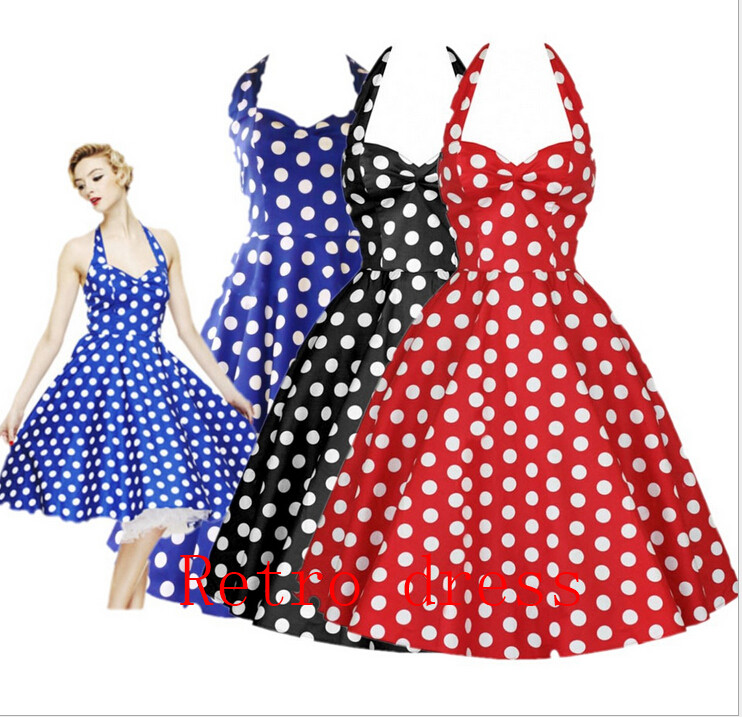 Online Get Cheap Vintage 50s 60s Dress Big Swing Polka Dot ...