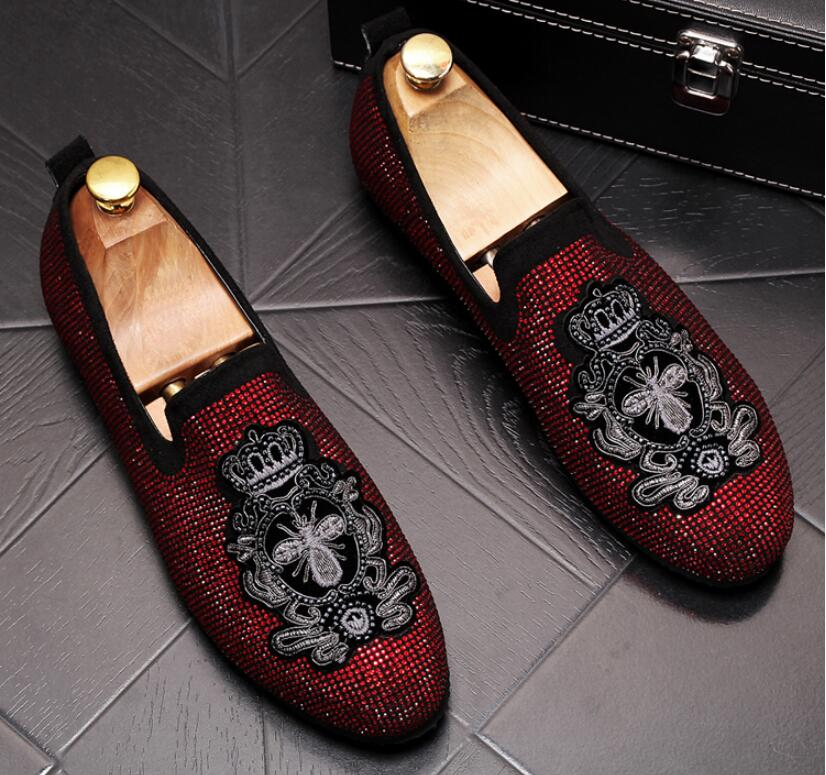 Handmade Gold Rhinestone embroidery bees Men's Suede Loafers Wedding Party Men Shoes Luxury Noble Elegant Dress Shoes for Men 5