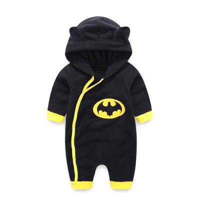 0-24M Newborn Baby Boys Winter Batman Hooded   Romper   Jumpsuit Warm Cotton Clothes Outfits