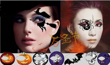 12pcs/lot Halloween Funny Face Sticker rave exaggerated stage makeup eye  stickers Performing Arts temporary tattoo sticker-in Temporary Tattoos from  Beauty ...