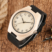 Natural Wood Case Wrist Watch Arabic Numbers Modern Men Bamboo Watch Genuine Leather Strap