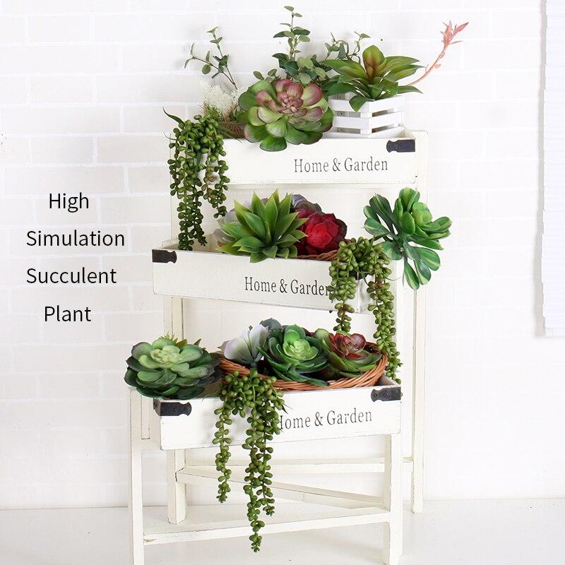 Artificial Succulents Plants Fake Succulent Bonsai Plastic Succulent Flower Land Lotus For Garden Home Office Landscape Decor