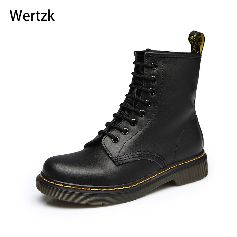 New Female Thick Heel Motorcycle Women's Bota Feminina Women Boots Doc Martins British Vintage Classic Genuine Martin Boots L238