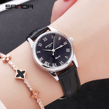 New women's watch retro Korean version of the simple fashion trend waterproof watch female students belt calendar quartz watch wu s new ladies watch waterproof fashion watch female students version of the simple casual trend quartz watch 2018