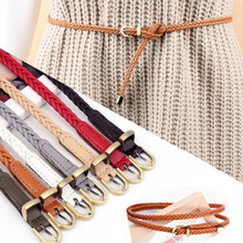 1PC womens belt fashion candy color PU high quality dress pin buckle ladies ultra-thin woven thin section narrow