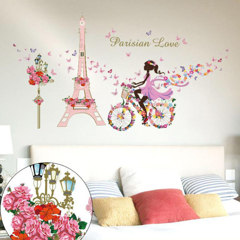 Flower Fairy Wall Stickers Beautiful Girl Cyclist Tower Wall Decal Home  Decor Living Room Bedroom Adornment Romantic Art Mural In Wall Stickers  From Home ...