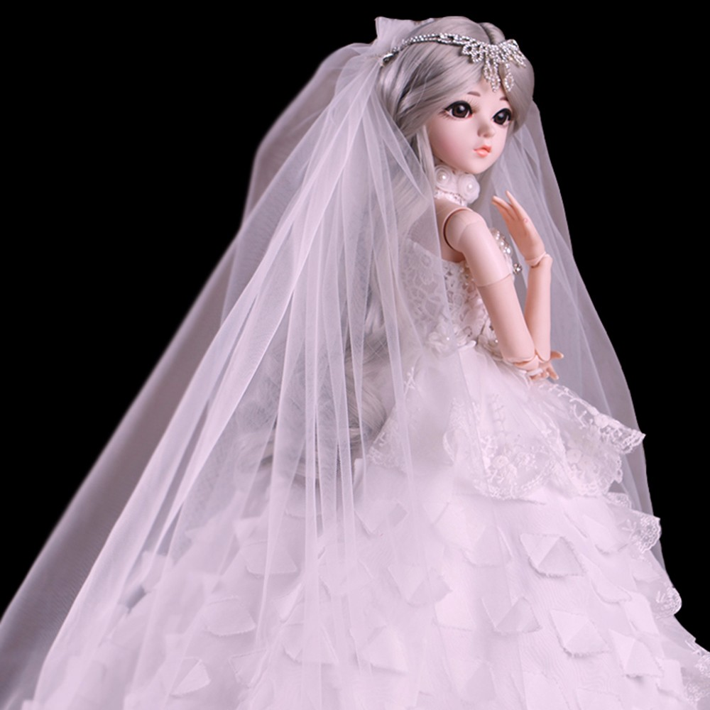 BJD 1 3 Girl Dolls Brown Eyes Bride Doll White Wedding Dress Handmade Beauty Toys Silicone
