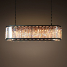 Vintage Oval Chandeliers LED Lighting Modern Crystal Prism Chandelier Light lustres de cristal for Home Hotel Wedding Decoration