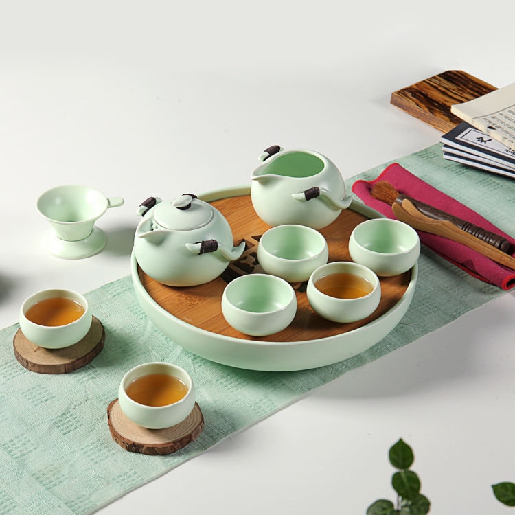 Ceramic Tea Set Kung Fu Tea Tray Bamboo Wood Japanese Tea