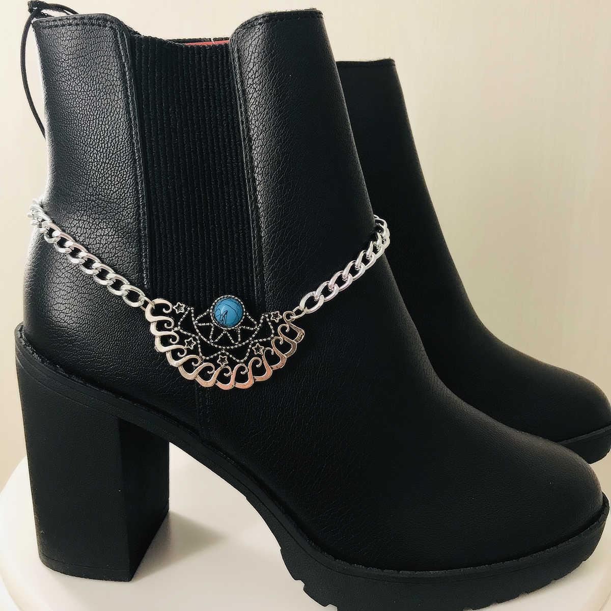SHIXIN Vintage Takılar Mavi Taş Yarım Daire Ayakkabı Dekorasyon Halhal Bilezik Kadınlar için Modern Sandalet Yüksek Topuklu Çizmeler Zinciri Hediye
