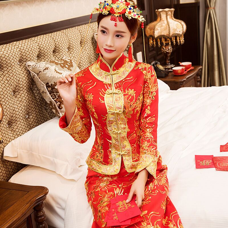 New Red traditional chinese wedding dress Qipao National Costume Womens Overseas Chinese Style Bride Embroidery Cheongsam S-XXL 4