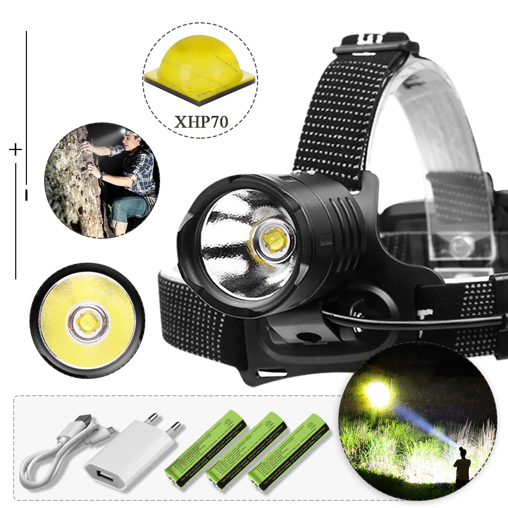 8000lm XHP70.2 high power Led headlamp Headlight XHP70 usb head lamp led rechargable flashlight torch Lantern 8000mah battery