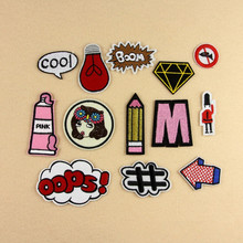 1PC New Fashion Cartoon Patch Many Choice Embroidery Iron On Patches for Clothes Garment Applique Felt Stickers DIY Accessory