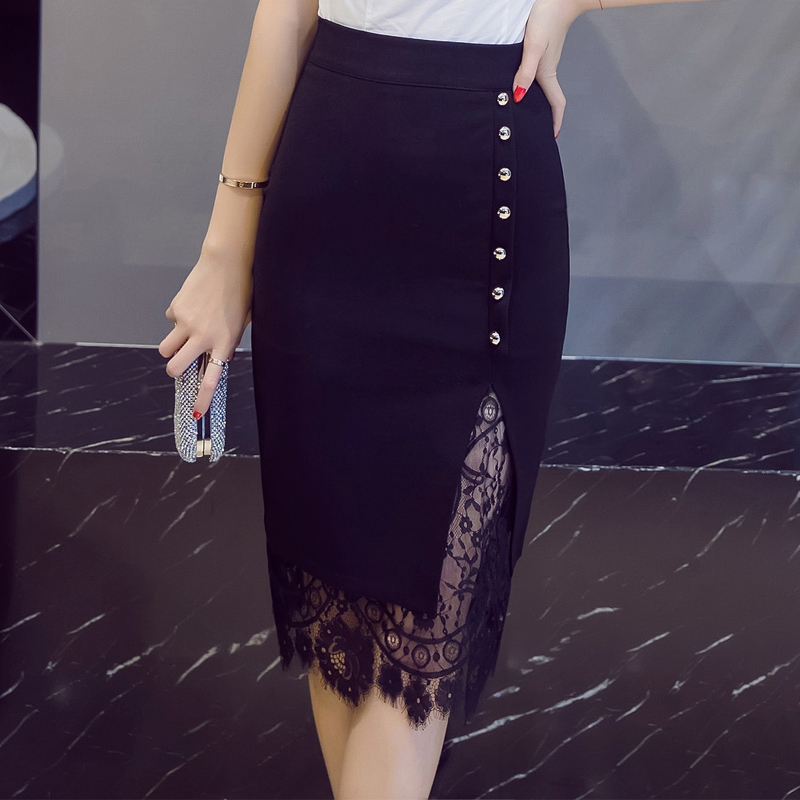 Lace Patchwork Office Pencil Midi Bodycon Skirt 6