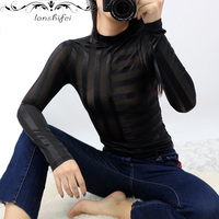 Athleisure Hollow Head Mesh Tops Streetwear Camiseta Long Sleeve Tops Trends Sexy Transparent Chic T Shirt Lace Bottoming Shirts