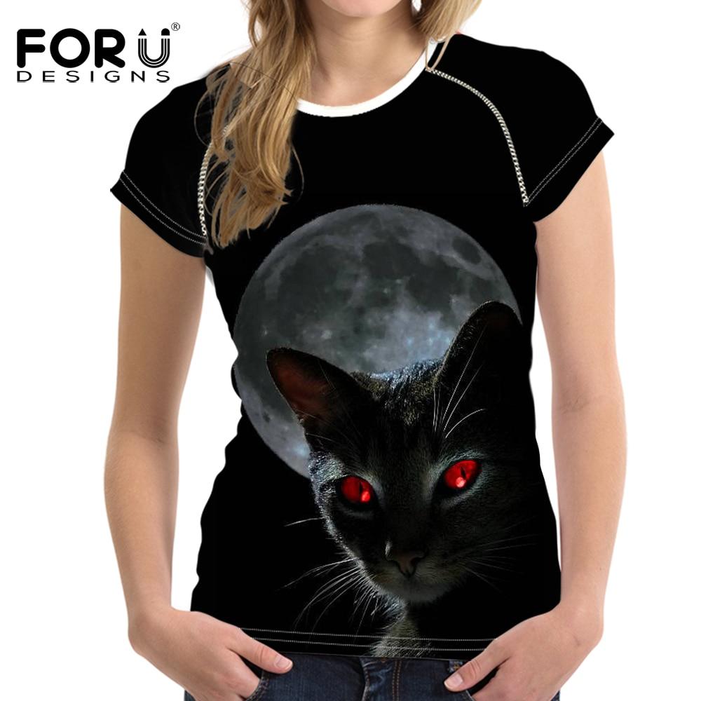 FORUDESIGNS Black Cat Women Summer T-shirt Bodybuilding Short Sleeved Moon Light Female t shirt For Ladies Shirts Woman Tops