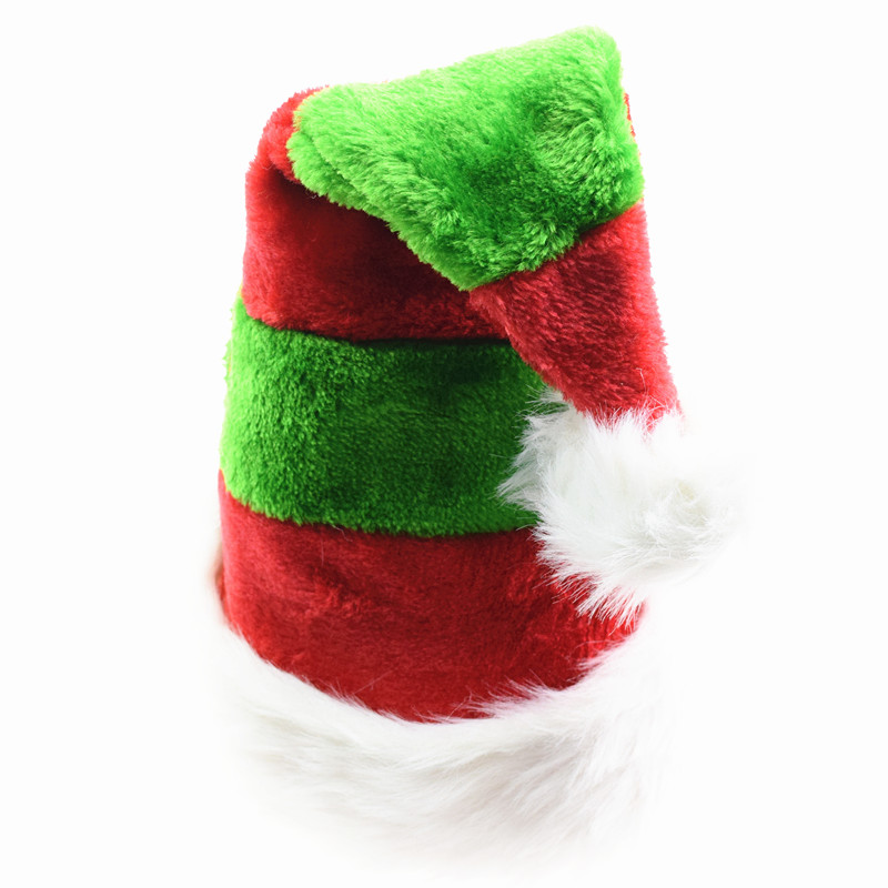 High Quality Christmas Hats Red Green Striped Merry Christmas Caps Adult Kids XMAS Decor New Year