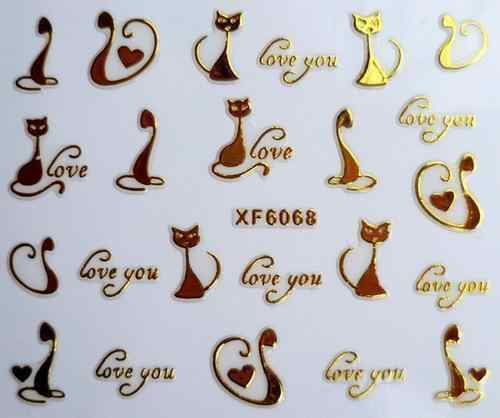 beauty gold cat  3D nail stickers nail art manicure nail XF6068