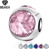 BISAER Genuine 925 Sterling Silver Radiant Droplet Pink CZ Crystal Beads Fit Pandora Charm Bracelet Jewelry