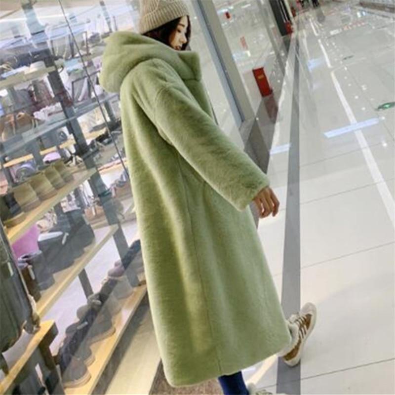 Streetwear Chaud De Femmes Grande Femelle Taille En Long Fourrure Épais Lâche Manteau Automne Vison Fausse Blue Capuchon green yellow Vêtements À Coréenne Hiver xTHq0IW7