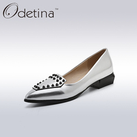 Odetina Fashion Women Pointed Toe Rivets Loafers 2017 Spring Summer Ladies Slip On Flats Silver Women
