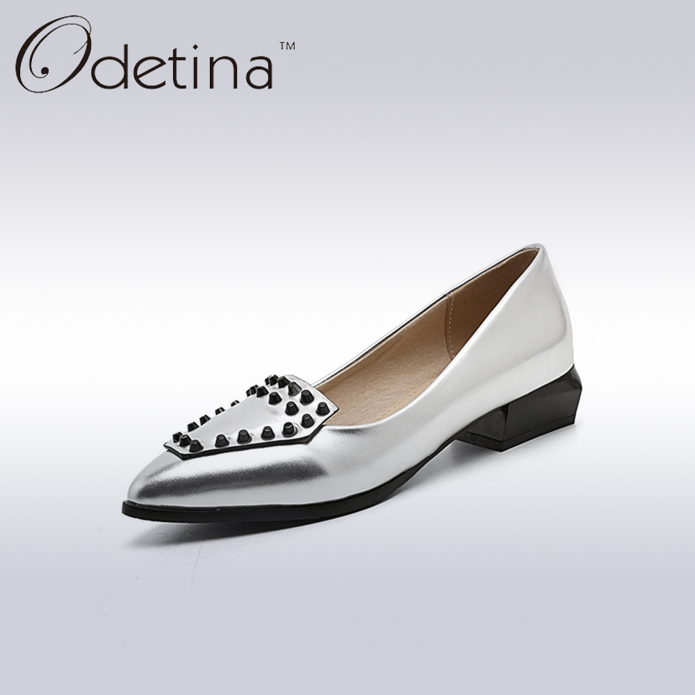 Odetina Fashion Women Pointed Toe Rivets Loafers 2017 Spring&Summer Ladies Slip on Flats Silver Women Casual Shoes Big Size odetina 2017 new summer women ankle strap ballet flats buckle hollow out flat shoes pointed toe ladies comfortable casual shoes