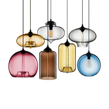 Creative Design Bar Restaurant Pendant Lights Clear Colorful Glass Lampshade Living Room Edison LED Hanging Lamp for Dining Room free shipping ac90 260v avintage cord pendant lights clear glass lampshade edison bulb pendant lamp for dining room ktv bar