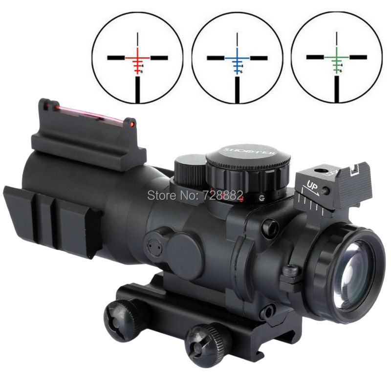 Tactical 4X32 Riflescope Red Blue Green Dot Sight Scope Fiber Optics Green Sight Fit 20mm Picatinny Weaver Rail Free Shipping tactical rifle scope 2x28 green optical fiber dot sight riflescope hunting shooting for 20mm weaver picatinny rail mount