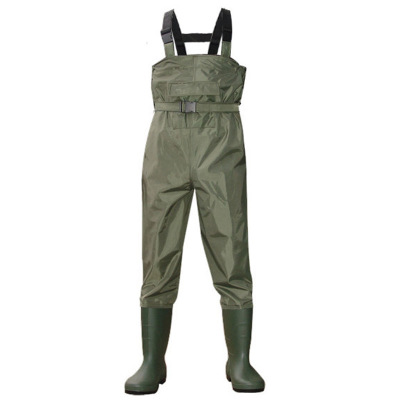 2018 Outdoor Fishing Camping Farming Breathable Overalls Male Wear Strap Jumpsuits Men Waterproof Wading Pants With Boots
