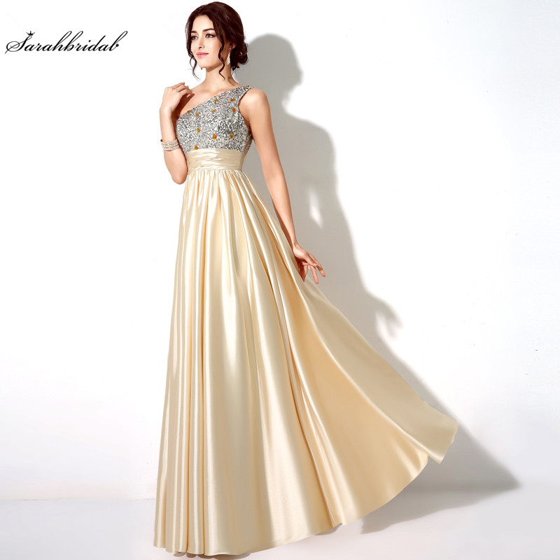 In Stock Elegant Long One Shoulder Satin Evening Dresses Sequin Special Occasion Dresses Evening Pleat Real
