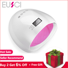 EUSCI UV LED Lamp Nail Dryer 24 PCS LED Dual light Source Nail Lamp For Curing UV Gel Nail Polish With Sensor Timer LCD Display sunuv sun6 sensor smart lamp nail led uv nail dryer metal bottom lcd timer multicolors for curing uv gel polish nail art tools