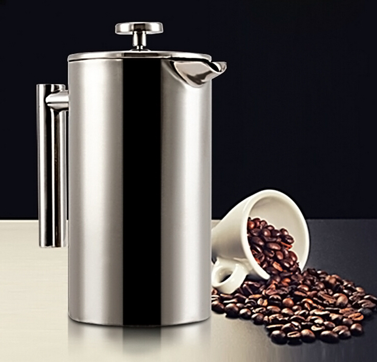 Europe Style Stainless Steel French Press Pot Creative Household High Grade Double Coffee Pot Thermos Pot Free Shipping