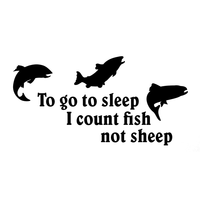 35cm To Go To Sleep I Count fish Not Sheep Car Sticker Vinyl