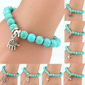 Hot 1 Pc Women Lady Girl New Fashion Popular 11 Styles Turquoise Beads Cross Key Owl Elephant Bracelet