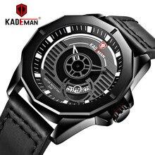 Unique Men Watch Luxury Waterproof Sport TOP Brand KADEMAN Quartz Automatic Date Military Wristwatch Relogio Masculino2019