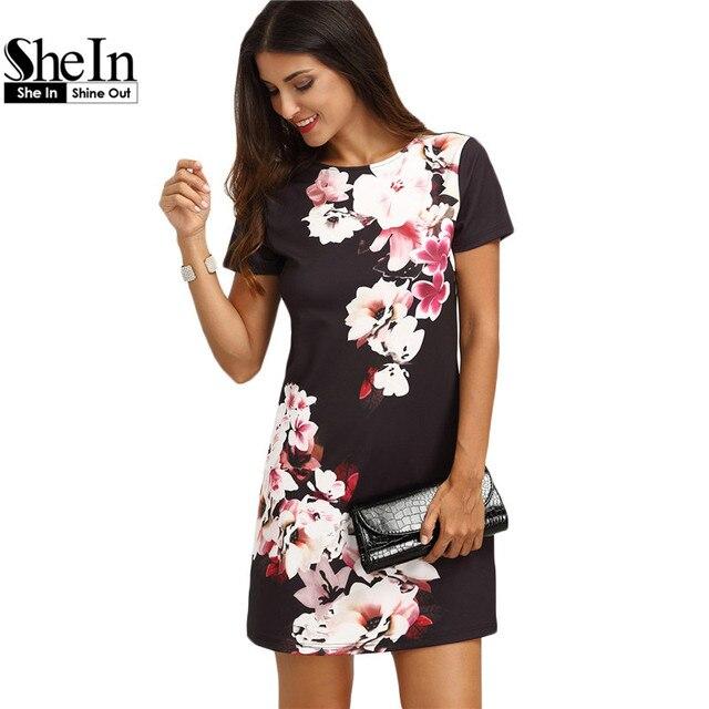 SheIn 2017 Лето Печати Dress Повседневные Платья Для Женщин Дамы Многоцветный Цветочные Коротким Рукавом Шею Прямой Короткий Dress